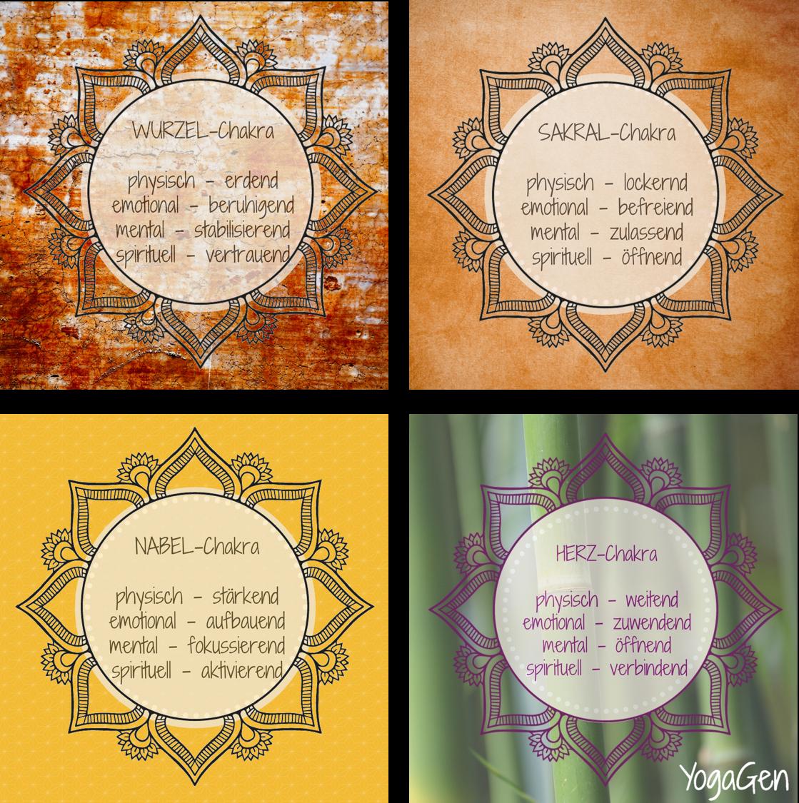 Chakra Qualitäten der unteren drei Chakren und des Herzchakras